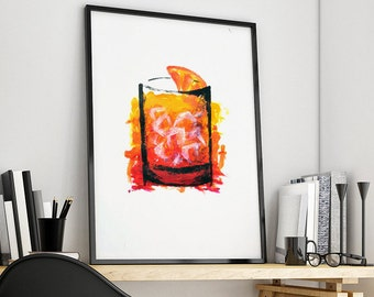 Tempera Italian Spritz-33 x 48 cm-made completely in tempera and with hands