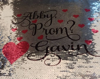 Flip sequins pillow, promposal prom proposal custom personalized sequins pillow