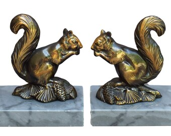 French Vintage Pair Squirrel Bookends - Home & Office Decor - Gift Ideas Art Deco Book Ends - Grey Turquin Blue Marble Bookcase Decoration