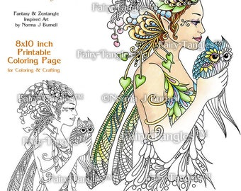 Letting Go Fairy Tangles Printable Coloring Book Pages & Sheets by Norma Burnell for Digital Coloring and Adult Coloring Fairy Owl to color