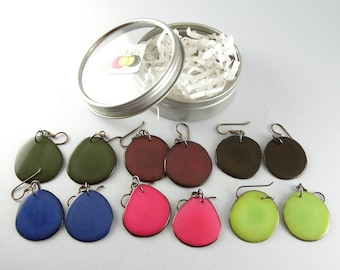 Fall Fashion Colors 6 Pair Compact Travel Pack Tagua Nut Eco Friendly Earrings with Free USA Shipping #taguanut #ecofriendlyjewelry