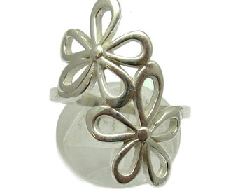 Sterling silver ring solid 925 flower pendant