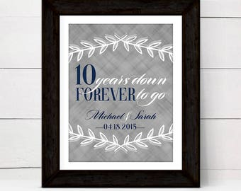 personalized tenth anniversary gift for women wife her, tin wall art print, 10 years down