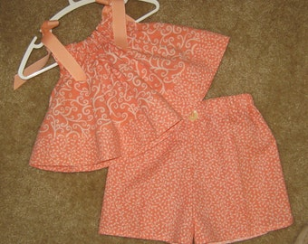 Peach and Cream Vine Print Short Set - Pillowcase Top with Shorts 12 mth old - 2 pc