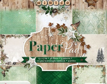 Woodland Winter Paper Path Block-170grams cardboard-36 Sheets woodland Winter Paper Path Block-170grams cardboard-36 sheets-PPww55