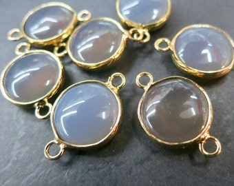 10pcs/lot -Gray Agate 15mm round connector beads with gold plating wrapped- Double Bail- #24