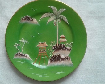 Green Chinoiserie Plate - Vintage Japanese Green Ceramic Display Plate - Oriental  Porcelain -Home Decor