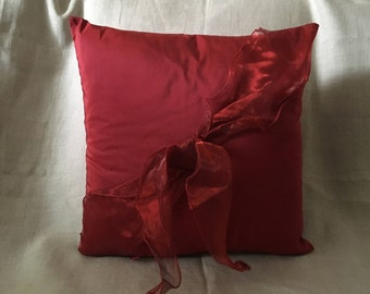 Silk Red Cushion Cover with Organza Red Bow