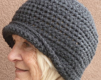 Black winter hat that's simple and basic, an original basic back hat with versatile style, black crochet hat that's unique and chic