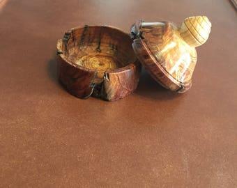 Small burl trinket box with lid