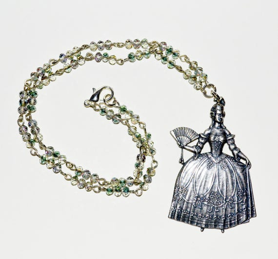 Marie-Antoinette Necklace - Soft Green / Champagne