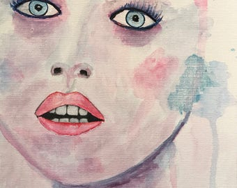 Original watercolor 9x12 made on canvas panel