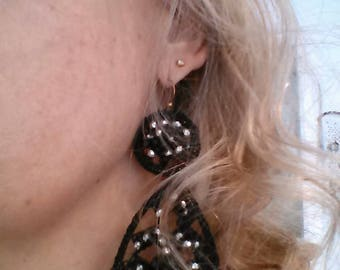 Earrings Spectacular Crochet Party with Czech Crystal Black color