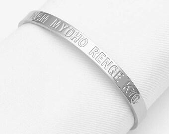 6mm Nam Myoho Renge Kyo Bangle Cuff Bracelet