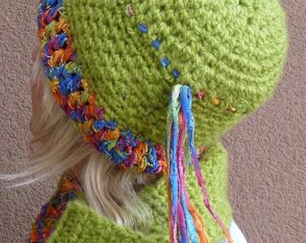 Women's winter hat and cowl set, original crochet hat and cowl in bright apple green, unique women's winter fashions, Bohemian accessories