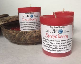 Strawberry Scented Soy Wax Votives