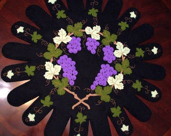 "Lg. 27-1/2 Inch ""THE VINE DIVINE"" Grapevine and Grapes Wool-Felt Penny Rug - Table Mat - Folk Art - Primitive - Biblical - Home Decor - Wool"
