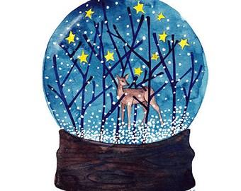 VENTE forêt averses bois peinture aquarelle originale illustration aquarelle originale Woodland hiver Art