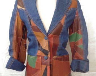 Vintage 1970's denim and leather patchwork blazer