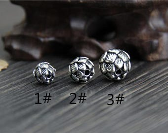 1 piece-Sterling Silver Lotus Beads,8mm/10mm/12mm ,Lotus Flower Beads,Lotus spacer beads,Flower beads,DIY Jewelry accessories Y0284