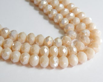 Navajo White AB Creamy Blush faceted glass rondelle beads 10x8mm full strand PF001-14L-4
