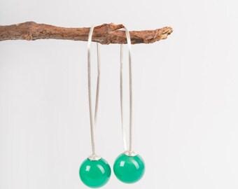 Long Silver earrings, Long Green earrings, Chrysopras long earrings, silver earring, long earrings, green earrings, chrysoprase earrings