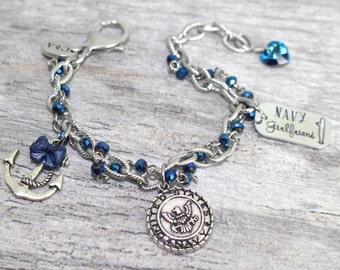 Submarine Girlfriend Charm Bracelet in Stainless Steel | USN Bracelet | Navy Girlfriend Jewelry | Navy Wife, Mother, Sister Bracelet