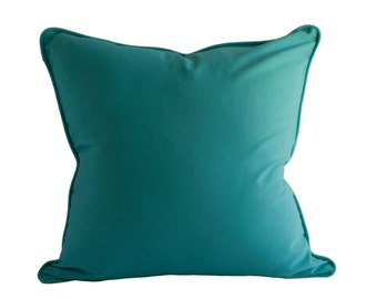 OUTDOOR PILLOW COVER - Teal Pillow Cover - Solid Color Pillow Cover - Zippered Pillow - Pillow with Piping - Turquoise  Outdoor Pillow Cover