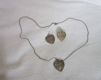 Vintage Silver Tone Filigree Hearts Necklace & Earring Set