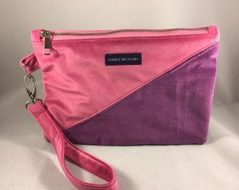 """Purple and Pink Velvet """"Sadie"""" Clutch Bag or Purse. One of a Kind and Ready to Ship"""