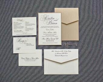 Pocket Invitations, Champagne Gold Wedding Invitation, Vintage Wedding Invitations, Wedding Pocket Invitations, Formal | Cristin & Brian