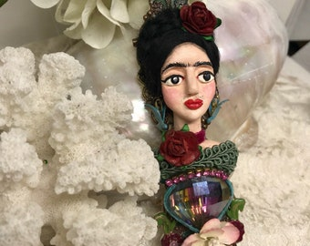 Lilygrace Large Frida Kahlo Bust Brooch with Bluebirds, Flowers and Vintage Rhinestones