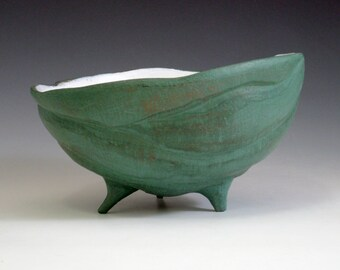 Large Green Terracotta Pottery Bowl: Big Bowl, Handmade Footed Bowl, Earthenware Bowl, Sculpture Bowl, Sculptural Bowl Ceramic Bowl (sb2)