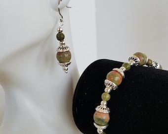 Unakite Bracelet, Unakite Earrings, Jewelry Set, Unakite Jewelry, Healing Jewelry, Meditation Stone, Healing Stone, Meditation Jewelry