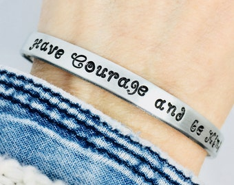 Have Courage and Be Kind bracelet, cuff bracelet, Inspirational quote, Cinderella, Ready to Ship, Birthday back to school gift her, princess