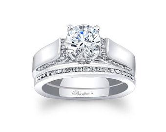 Barkevs White Gold Diamond Engagement Ring Set, ForeverOne Moissanite Engagement, Available with Diamond or Moissanite Center Stone, 7942S