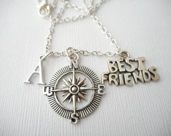 Compass, Best Friends- Initial Necklace/ Gift for best friend, Birthday Gift, Bff gift, bff jewelry, Gift for bff, Personalized Friend