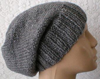 Gray slouchy hat, mens womens knit hat, toque, charcoal gray hat, winter hat, chemo cap, gray knit hat, ski toboggan hat, biker hiking hat