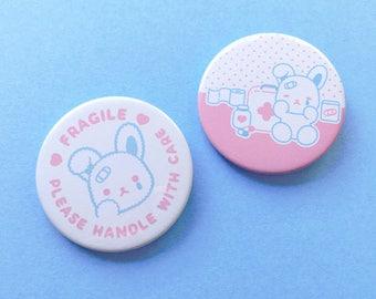Fragile Bunny - 45mm Button Badge