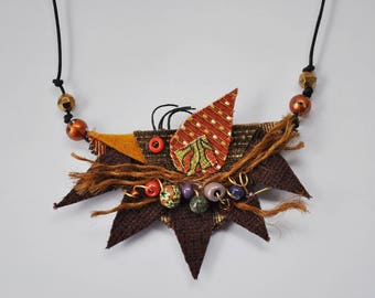 Bird Nest Necklace, Rust, Brown,Recycled Fabric, Woodland, Earthtones, Whimsical