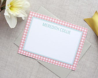 Personalized Stationery | Set of 10 Custom Flat Note Cards | Gingham Pattern | Custom Colors | Mothers Day Teacher Gift | Thank You Hostess