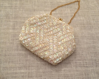 White Beaded Sequined Small Evening Bag With Gold Chain Optional Handle Hand Made in Hong Kong
