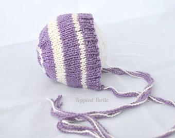Newborn Knit Baby Bonnet | Striped Baby Bonnet | Newborn Knit Photo Prop | Purple Striped Baby Bonnet | Teal Striped Bonnet