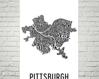Pittsburgh Typography Map Art, Pittsburgh PA Wall Art Print
