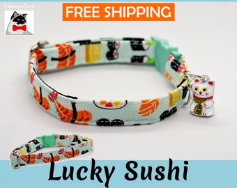 Sushi collar 'Lucky Sushi' for cat, breakaway kitten collar, safety cat collar with Maneki Neko bell by Crafts4Cats
