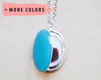 Large Oval Custom Photo Locket - Pendant Style Necklace