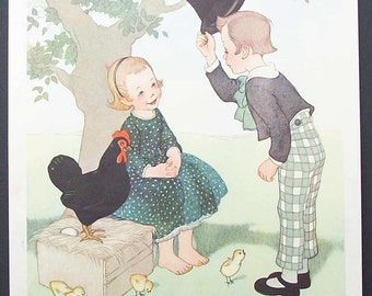 "Vintage Nursery Print ""Good Afternoon Miss""  by  Marjory Torrey"