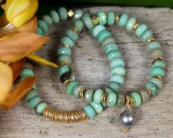 TAHITIAN PEARL BRACELET / chrysoprase bracelet / stack bracelet / set of two bracelets / beach jewelry