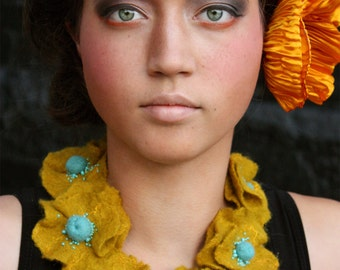 Felted Eco Fashion Necklace -- Golden Poppies -- En El Paraíso (In Paradise) Collection