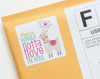 Llama Love Happy Mail Packaging Stickers